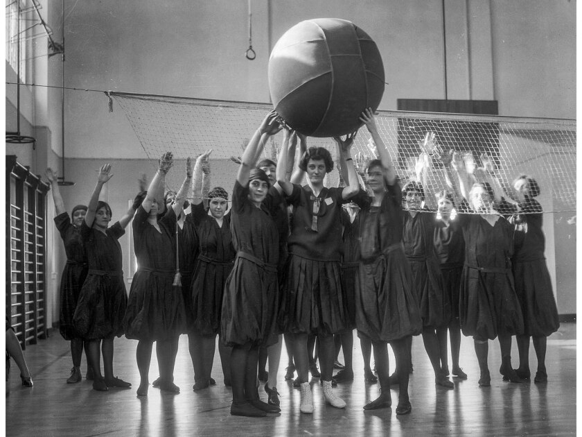 Feb. 16, 1926: Mrs. S. Gross and some of the girls at the Y.W.C.A. playing cage ball, Los Angeles, 1