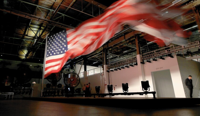 """""""William Pope.L: Trinket"""" at Geffen Contemporary was anchored by a monumental — and riveting — 2008 installation sculpture of an enormous American flag whipping in an artificial breeze."""