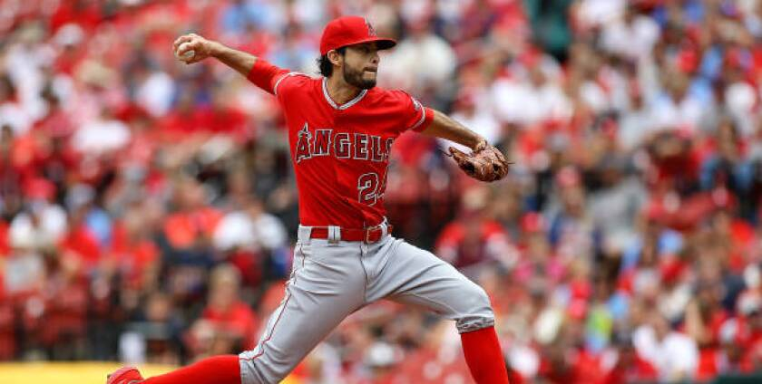 Angels starter Noe Ramirez delivers during the first inning against the St. Louis Cardinals on June 22.