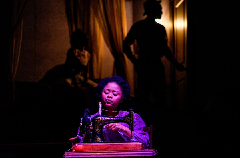 "Tamara McMillian in the New Village Arts production of Lynn Nottage's ""Intimate Apparel."""