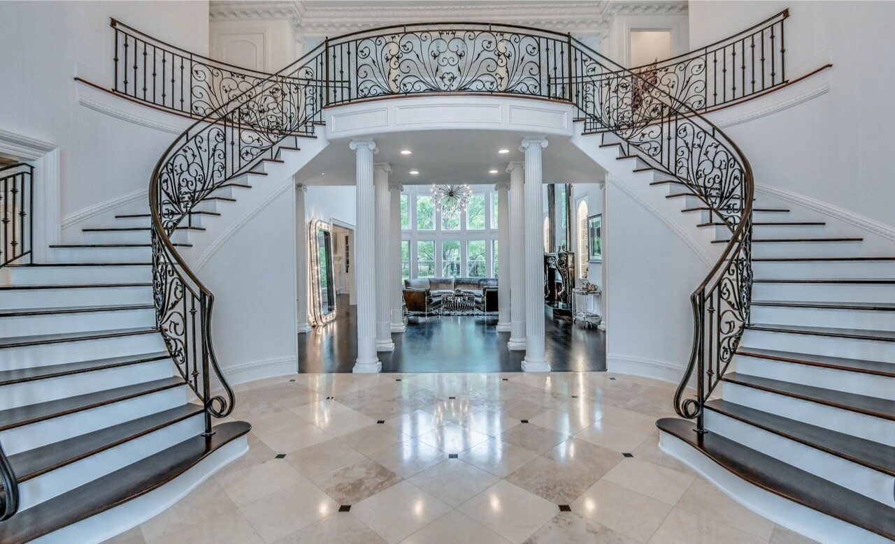 The three-story brick mansion boasts seven bedrooms and 10 bathrooms in over 12,000 square feet.
