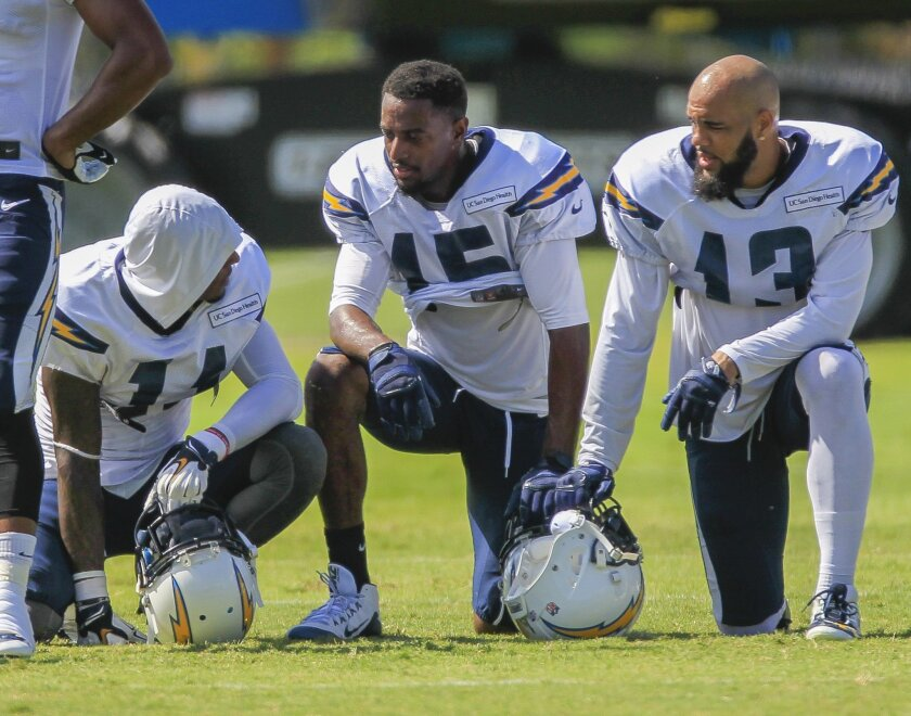 Chargers Stevie Johnson (left) #11, Dontrelle Inman #15, and Keenan Allen #13 at Chargers Park during training camp on Thursday in San Diego, California.