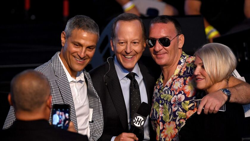 Endeavor's Ari Emanuel, left, sportscaster Jim Gray and Tony and Margaret McGregor at the weigh-in for the Floyd Mayweather Jr.-Conor McGregor fight in Las Vegas in 2017.
