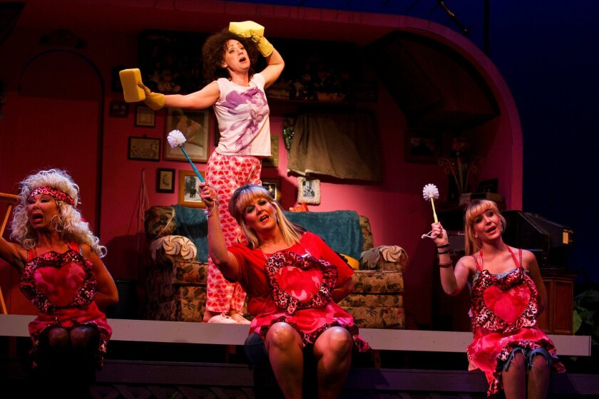 """Leigh Scarritt, Courtney Corey (standing), Melinda Gilb and Kailey O'Donnell (left to right) in San Diego Rep's """"The Great American Trailer Park Musical."""""""