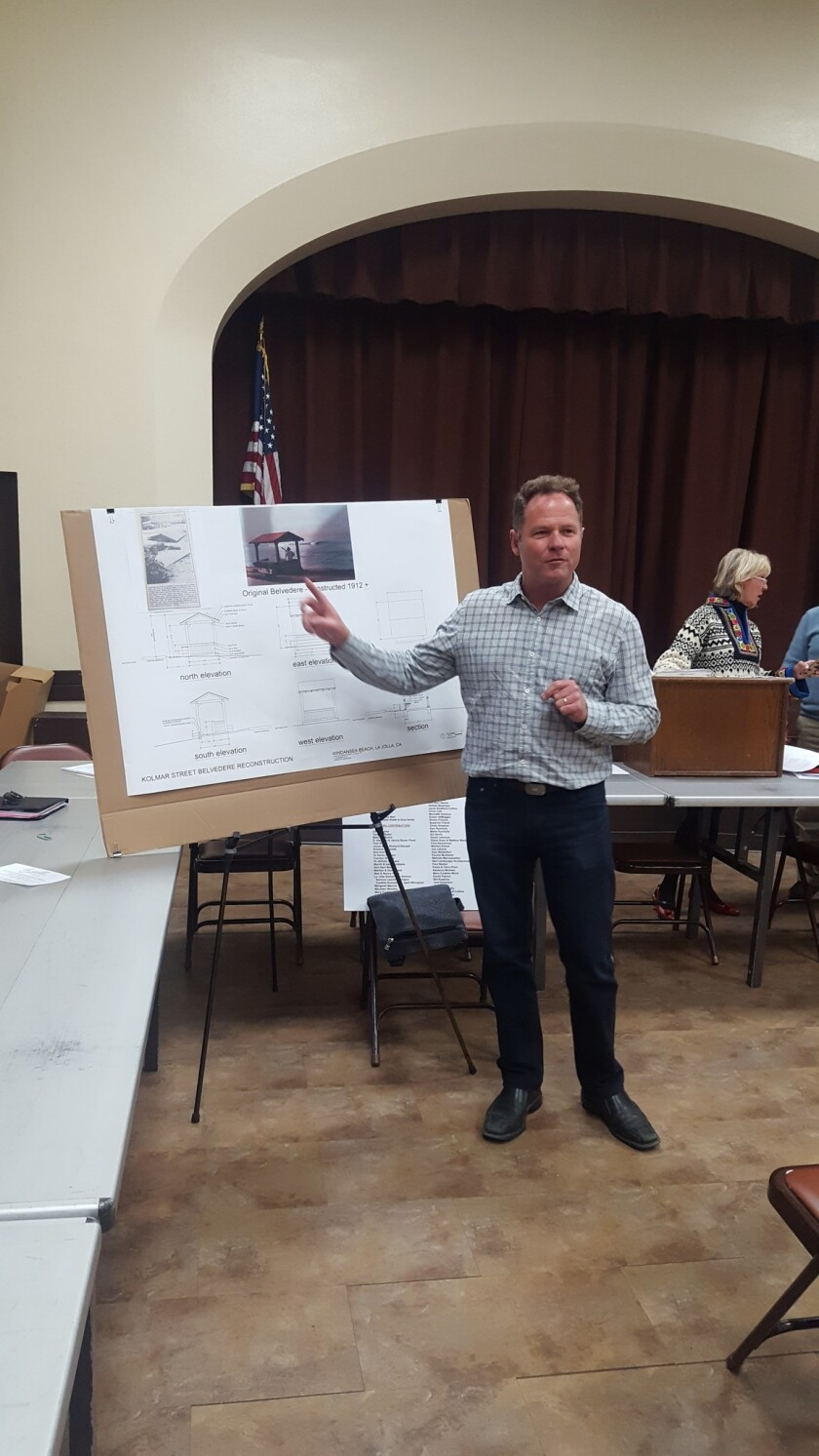 Jim Neri presents plans to replace a belvedere at Windansea Beach during a La Jolla Parks & Beaches meeting in December 2018.