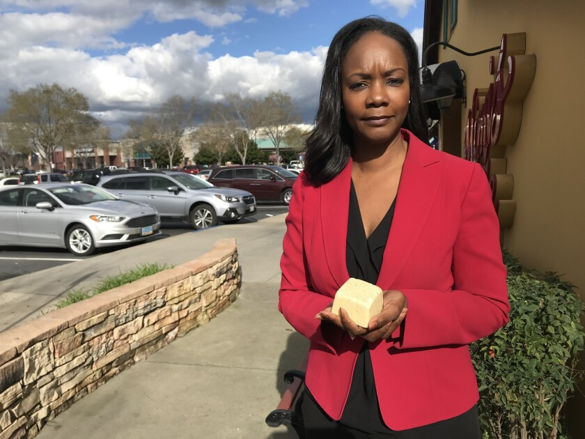 Communications consultant Tracie Stafford was going through the TSA line at Los Angeles International Airport on her way home to Sacramento when she was pulled aside for extra inspection. Her Buffy Bar, an expensive brand of soap, had triggered the alarm.