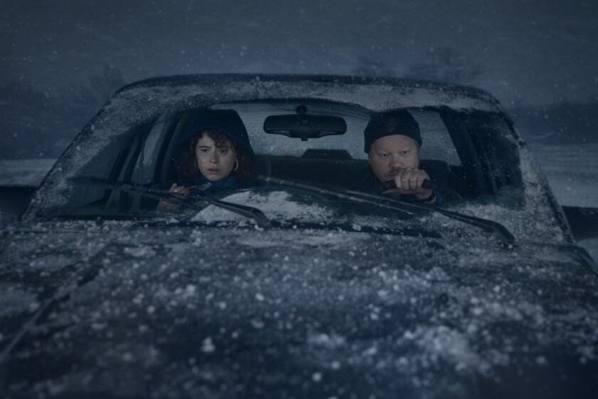 "Jessie Buckley and  Jesse Plemons in ""Im Thinking Of Ending Things."""