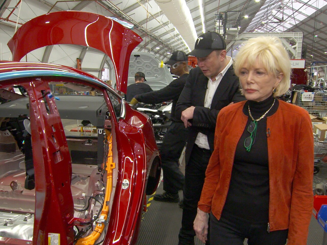 CBS correspondent Lesley Stahl during a 60 Minutes segment with Elon Musk at Tesla's Fremont factory.