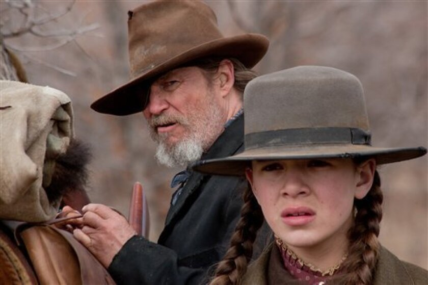 "In this undated film publicity image released by Paramount Pictures, Jeff Bridges, left, and Hailee Steinfeld are shown in a scene from ""True Grit."" (AP Photo/Paramount Pictures)"