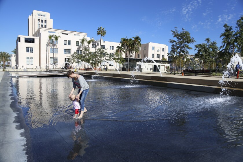 The County Administration Center's water usage has increased sixfold since the park opened.   The statue in the back of the County Administration building has been turned off because of CaliforniaÕs water drought while the Waterfront Park still runs.