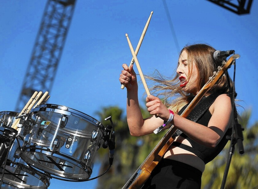 Este Haim from the band Haim performs on stage at the Coachella Valley Music and Arts Festival.
