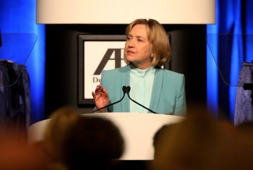 Former U.S. Secretary of State Hillary Clinton speaks at the annual meeting of the American Bar Assn. in San Francisco.
