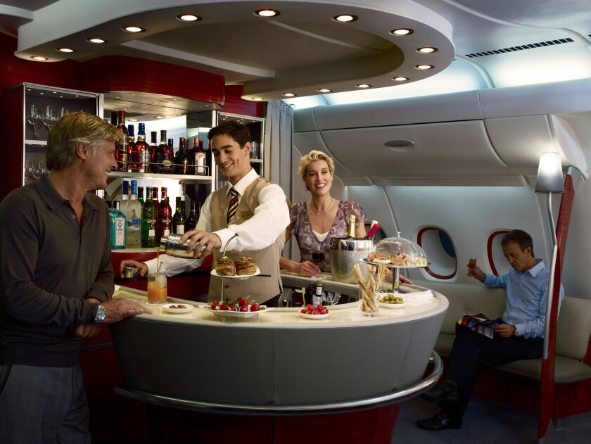 The lounge on the Emirates A380. The airline will begin A380 service to Dubai in December.