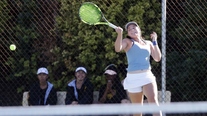 Corona del Mar High's Janie Marcus competes as the No. 2 singles player against Palos Verdes Peninsu
