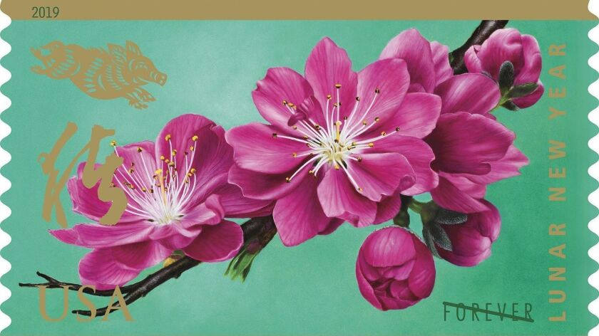 Chinese American artist Kam Mak created the new Forever stamp, which features bright pink peach blossoms.
