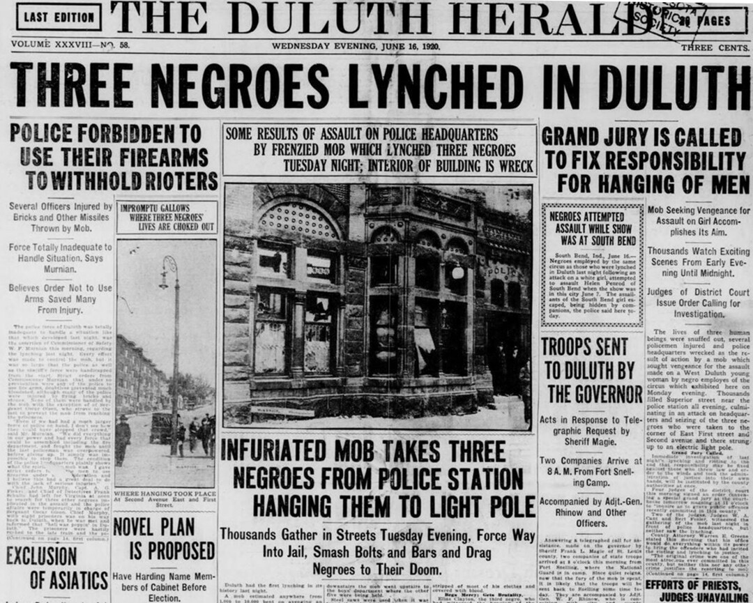 The front page of the Duluth, Minn., Herald after a white mob lynched three Black men on June 15, 1920.