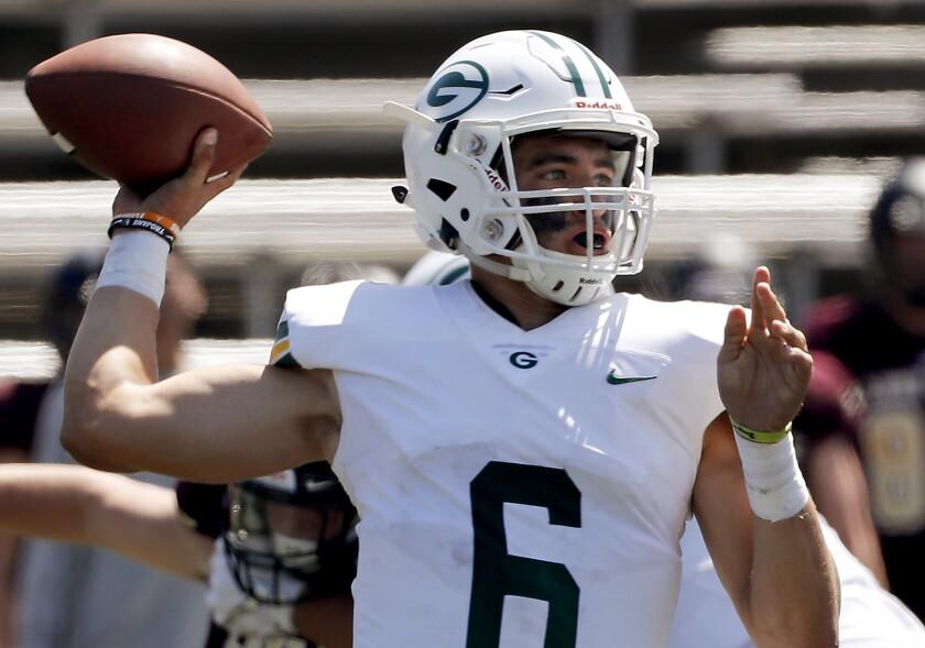Narbonne quarterback Jake Garcia throws a pass against Lone Peak (Utah) on Aug. 31.