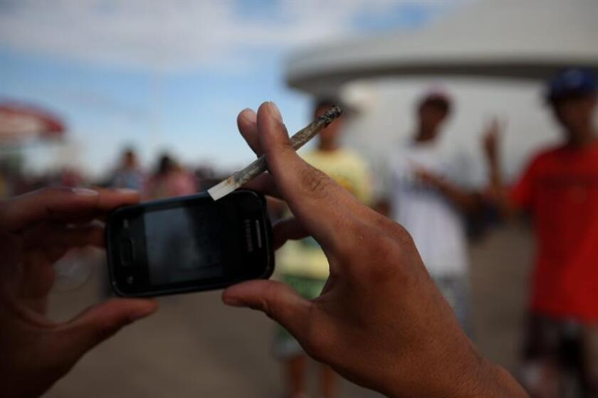 Una persona fuma marihuana mientras participa el viernes 23 de mayo de 2014, en una manifestación para pedir la legalización de la marihuana, en Brasilia (Brasil). EFE/Archivo