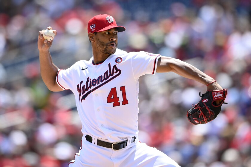 Washington Nationals starting pitcher Joe Ross delivers a pitch during the third inning of a baseball game against the Los Angeles Dodgers, Sunday, July 4, 2021, in Washington. The Dodgers won 5-1. (AP Photo/Nick Wass)