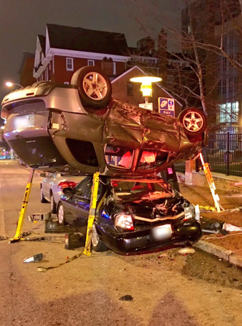Car crash at N. Paca and W. Fayette streets