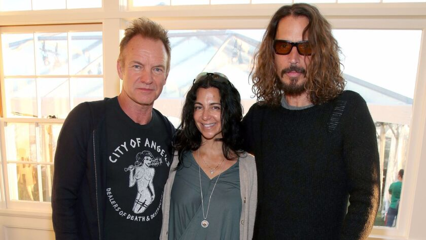 Sting, left, Alex and Ani's Carolyn Rafaelian and Chris Cornell attend the benefit event for the Epidermolysis Bullosa Medical Research Foundation.