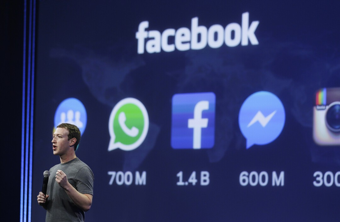 Mark Zuckerberg gives the keynote address during the Facebook F8 Developer Conference.