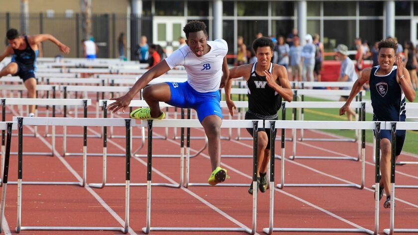 Rancho Bernardo senior Christian Baker, who won the 110 hurdles in 14.78 seconds Friday, hopes to compete in track and field and football in college.