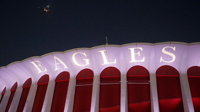 INGLEWOOD, CALIF.. - SEP. 12, 2018. Exterior of The Forum in Inglwewood, where the Eagles performed