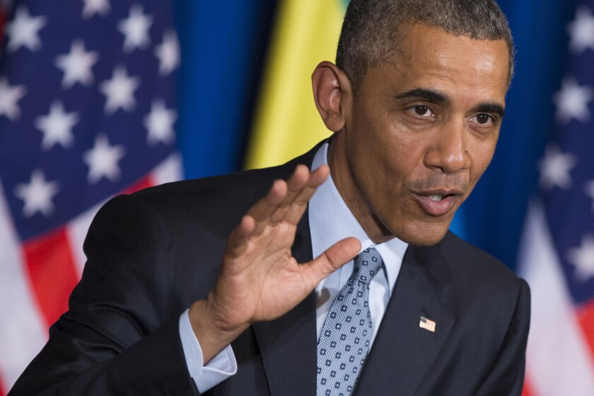 El presidente de Estados Unidos Barack Obama habla durante una conferencia de prensa conjunta con el primer ministro etíope Hailemariam Desalegn en Addis Abeba.