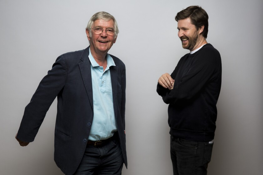 "Tom Courtenay, left, and director Andrew Haigh, with the film, ""45 Years,"" are photographed in the L.A. Times photo studio at the Toronto Film Festival,."