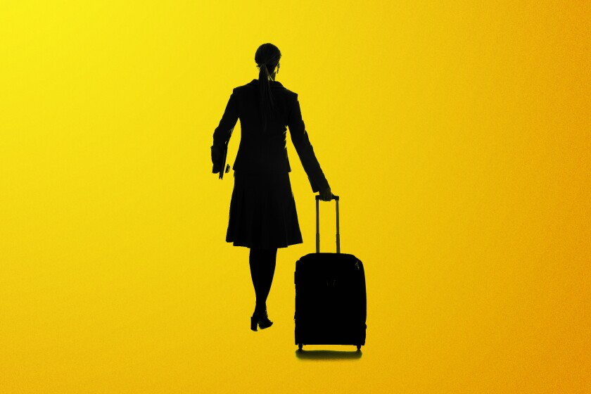 An illustration of a woman pulling a suitcase