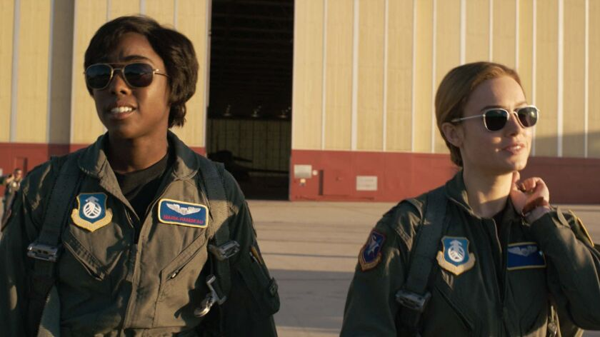 L to R: Maria Rambeau (Lashana Lynch) and Captain Marvel (Brie Larson) in a scene from Marvel Studio