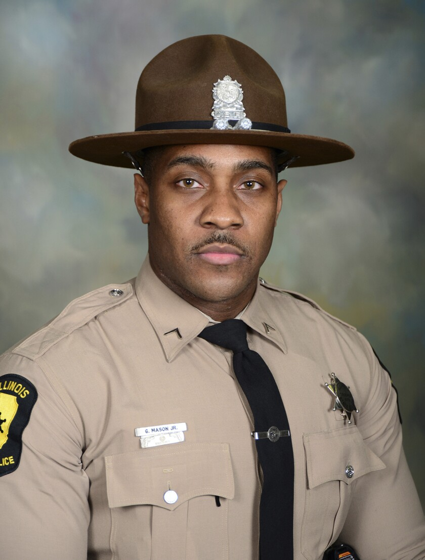 This image provided by the Illinois State Police, shows ISP District Chicago Trooper Gerald Mason, who died Friday, Oct. 1, 2021, after being shot on the Dan Ryan Expressway in Chicago, authorities said, on the same day the state started stepping up patrols in response to a surge in shootings involving motorists in the city. (Illinois State Police via AP)