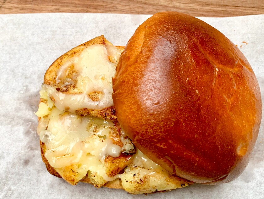 Crushed Potato Grilled Cheese Sandwich