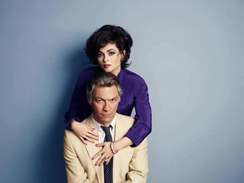 "From the telefilm ""Burton and Taylor,"" Helena Bonham Carter as Elizabeth Taylor and Dominic West as Richard Burton"