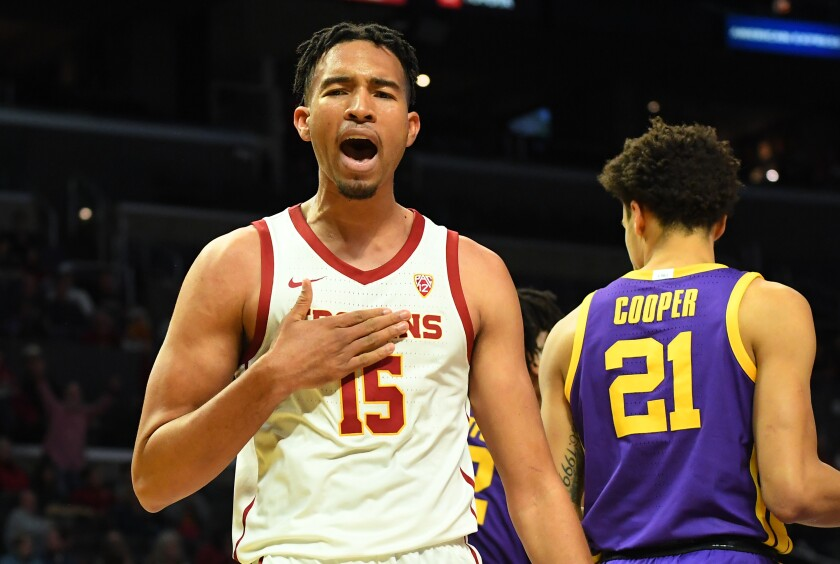 USC's Isaiah Mobley reacts after being fouled during a game against LSU in December. The freshman forward says he's in no rush when it comes to his development.