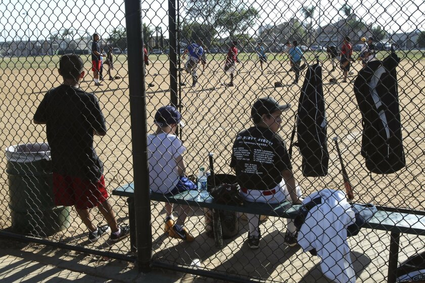 Baseball practice at the North Park Recreation Center in San Diego on Thursday.