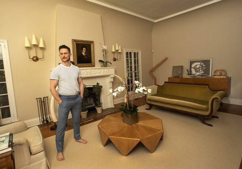 Actor Jonathan Tucker in his Hancock Park living room.