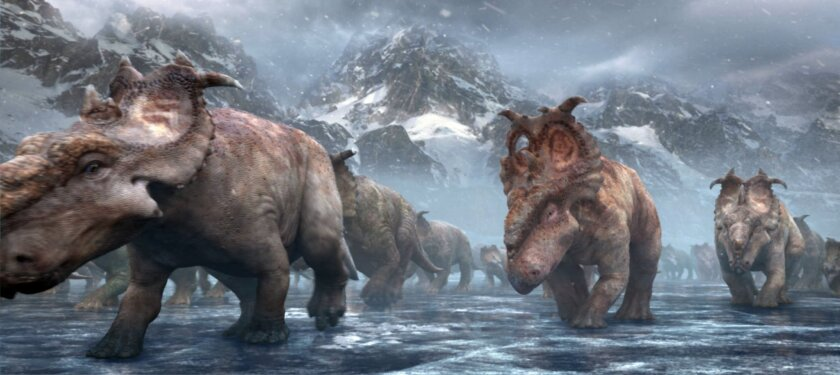 A herd of Pachyrhinosaurus migrates across the frozen Alaskan tundra in the movie Walking With Dinosaurs.