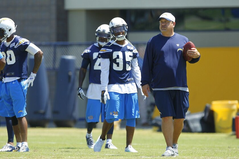 Chargers defensive coordinator John Pagano looks on during practice.