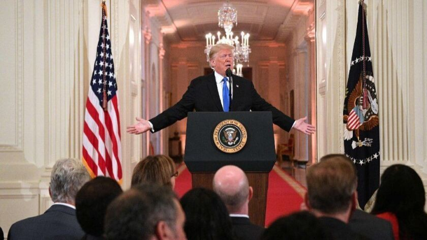 President Trump speaks about the midterm election during a news conference at the White House on Nov. 7.