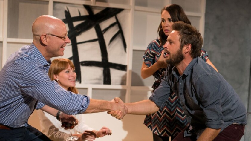 One-percenters (James MacDonald and Brea Bee, left) trade indecent proposals with another couple (Xochitl Romero and Mark Carapezza) from the other side of the tracks.
