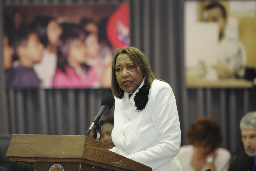 LAUSD board member Marguerite Poindexter LaMotte, seen above in 2011, died last week at an education conference in San Diego.