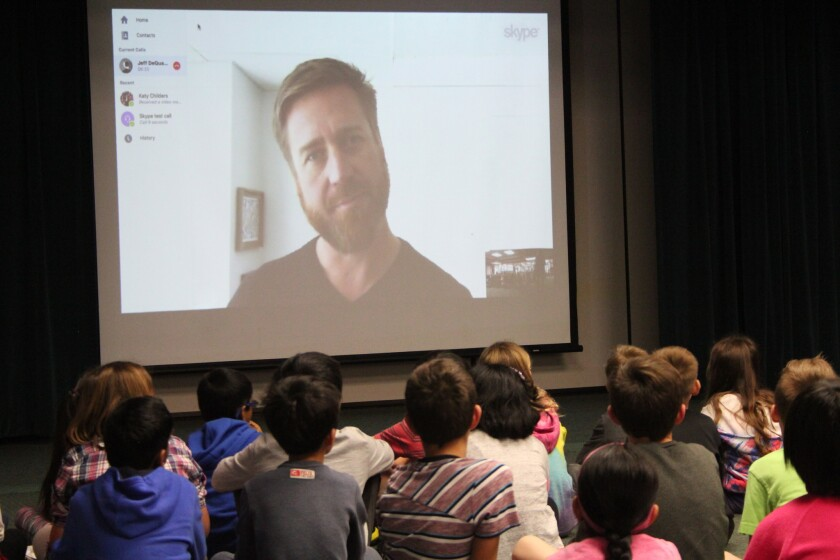 Scientist Jeff De Quatro Skypes with Carmel Creek students from the Nature Conservancy in Mobile, Alabama.