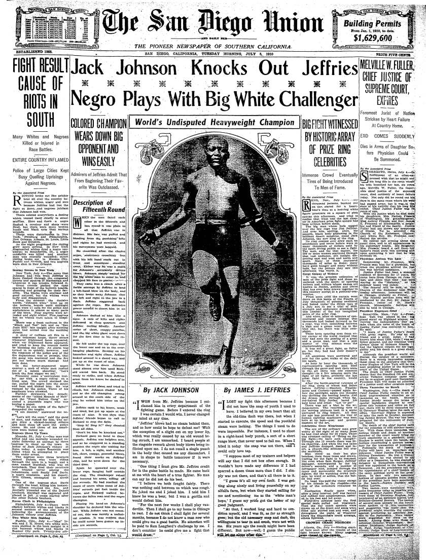 July 5, 1910 Union front page Jack Johnson heavyweight championship