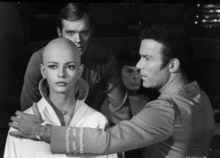 "Persis Khambatta, left, Stephen Collins, Leonard Nimoy and William Shatner in ""Star Trek: The Motion Picture."""