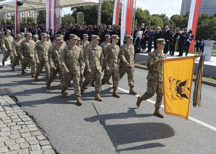 The U.S. military took part in a Polish military parade on Aug. 15, which included a flyover by two U.S. fighter jets and drew large crowds.