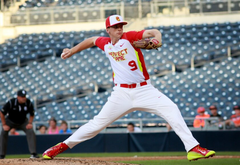 Pitcher Drew Finley, from Ranch Bernardo H.S. pitches during the Perfect Game All American Classic at Petco Park Downtown on Sunday, August 10.2014 Photo by (Sandy Huffaker)