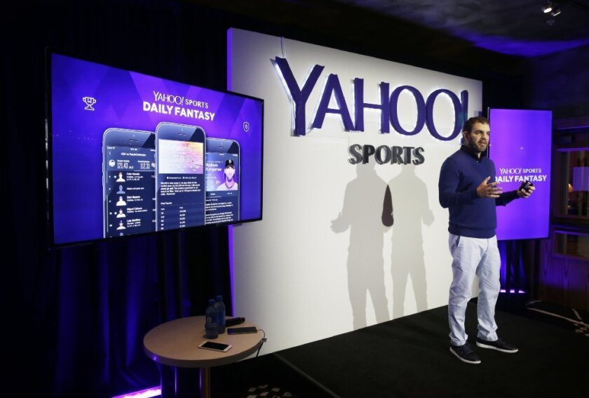 Kenneth Fuchs, vice president of publisher products, discusses Yahoo Sports Daily Fantasy contest during a product launch Wednesday.