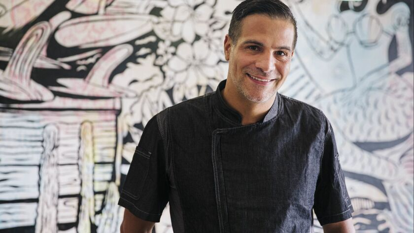Executive chef Angelo Sosa inside newly opened Death By Tequila restaurant/bar in downtown Encinitas.